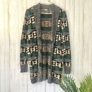 ecote | Aztec Print Open Cardigan Size M